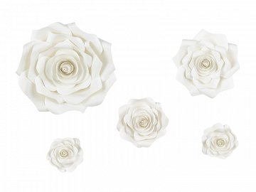 Paper flower backdrop, light cream, mix