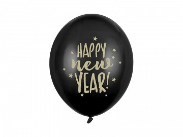Balony 30cm, Happy New Year, Pastel Black (1 op. / 50 szt.)