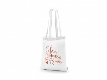 Tote bag - Here comes the bride, white, 39x42cm