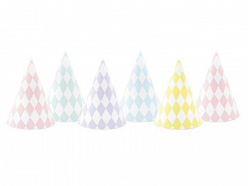 Party hats Yummy, mix, 10cm (1 pkt / 6 pc.)