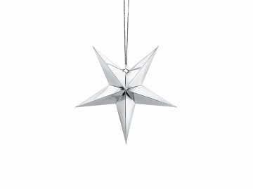 Paper star, 30cm, silver