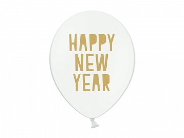 Balony 30 cm, Happy New Year, Pastel Pure White (1 op. / 6 szt.)
