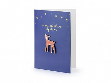 Card with enamel pin Deer, 10.5x14.8cm