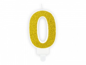 Birthday candle Number 0, gold, 7cm