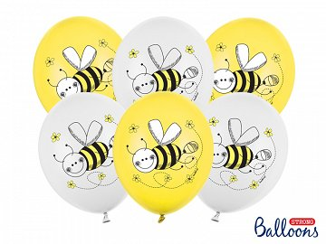 Balloons 30cm, Bees, Pastel Mix (1 pkt / 6 pc.)
