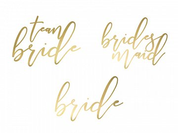 Temporary tattoos Bachelorette party, gold (1 pkt / 15 pc.)