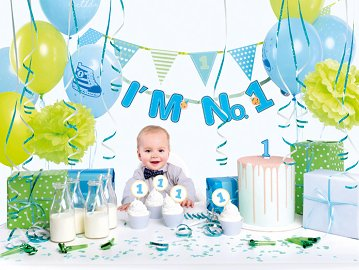 Party decorations set - I'm no. 1, blue (1 ctn / 6 pkt)