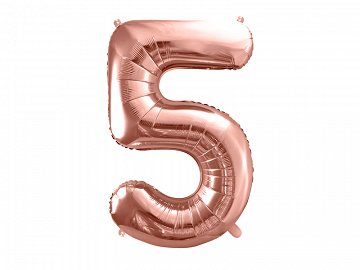 "Foil Balloon Number ""5"", 86cm, rose gold"