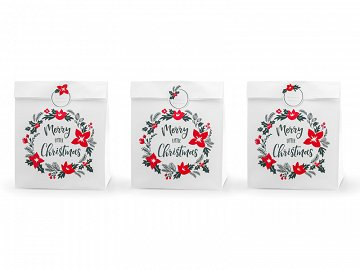 Gift bags Merry Little Christmas, white, 25x11x27cm (1 pkt / 3 pc.)