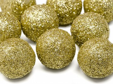 Glittery decorations Ball, gold, 3cm (1 pkt / 9 pc.)