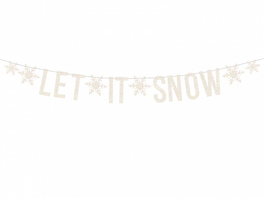 Baner Let it snow, biały, 13x170cm