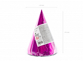 Holographic party hats, dark pink, 16cm (1 pkt / 6 pc.)