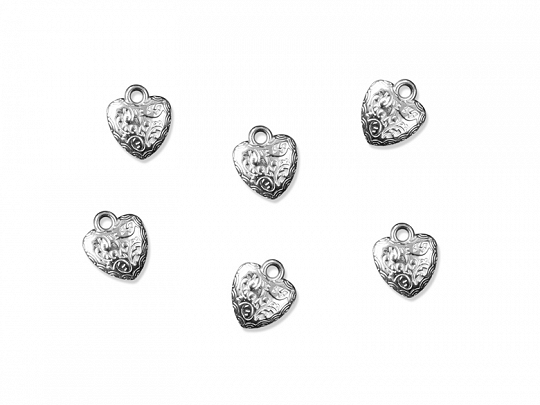 Embelishments Heart, silver, 17mm (1 pkt / 25 pc.)