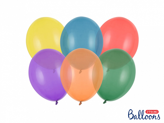 Strong Balloons 23cm, Crystal Mix (1 pkt / 100 pc.)