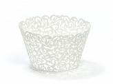 Cupcake wrappers, white, 5.5 x 8.5cm (1 pkt / 10 pc.)