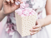 Boxes for popcorn Dots, light peach, 7x7x12.5cm (1 pkt / 6 pc.)