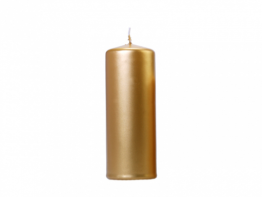 Pillar Candle, metallic, gold, 15 x 6cm (1 pkt / 6 pc.)