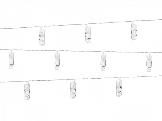 LED photo clips lights, clear, 1.4m (1 ctn / 20 pc.)