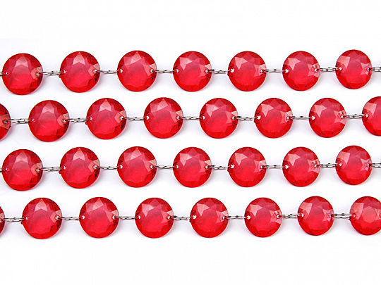 Crystal garland, red, 1m
