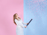 Gender reveal confetti cannon - Ready to pop, pink, 60cm