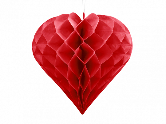 Honeycomb Heart, red, 20cm