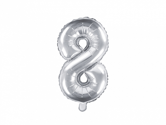 "Foil Balloon Number ""8"", 35cm, silver"